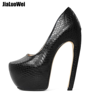 jialuowei Women Pumps 18CM Super High Heel Platform Sexy Strange Style Curve Bend Heels Slip On Snake Pattern Shoes Big Size