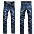 Jeans para hombre hombres 2015 Regular Jeans hombres de algodón de Color azul oscuro pantalones vaqueros ocasionales pantalones rectos de Color sólido UK389