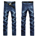 Mens Jeans Men 2015 Regular Jeans Men's Cotton Dark Blue Jeans Casual Straight Pants Solid Color UK389