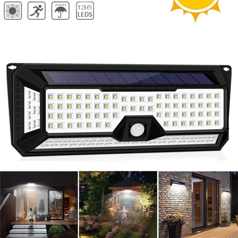 100 136 LED Garden Solar Lights High Bright Solar 4 Sizes LED Light Waterproof Wall Light Outdoor Solar PIR Motion Sensor Lamp in Solar Lamps from Lights Lighting