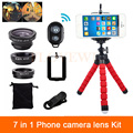 7in1 Kit 3in1 Fisheye Lente Gran Angular Macro Lente de La Cámara Del Teléfono Para iphone 6 6 s 7 plus 5 5S 4 4S clips trípode bluetooth obturador