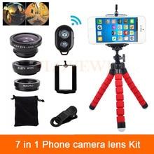 7in1 Телефон Объектив Камеры Kit 3in1 Рыбий Глаз Широкоугольный Макрообъектив Для iPhone 6 6 s 7 Плюс 5 5S 4 4S Клипы Штатив Bluetooth затвора
