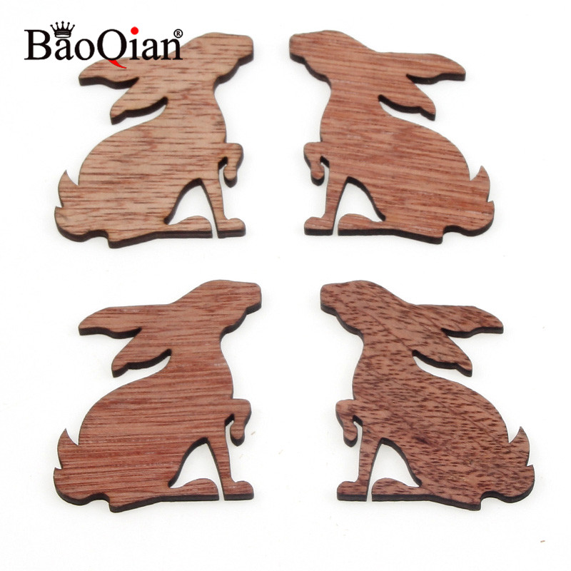 12Pcs 49x40mm Wooden Rabbit Veneers Slices For DIY Festival Home Crafting Decoration Embellishment Hanging Ornaments