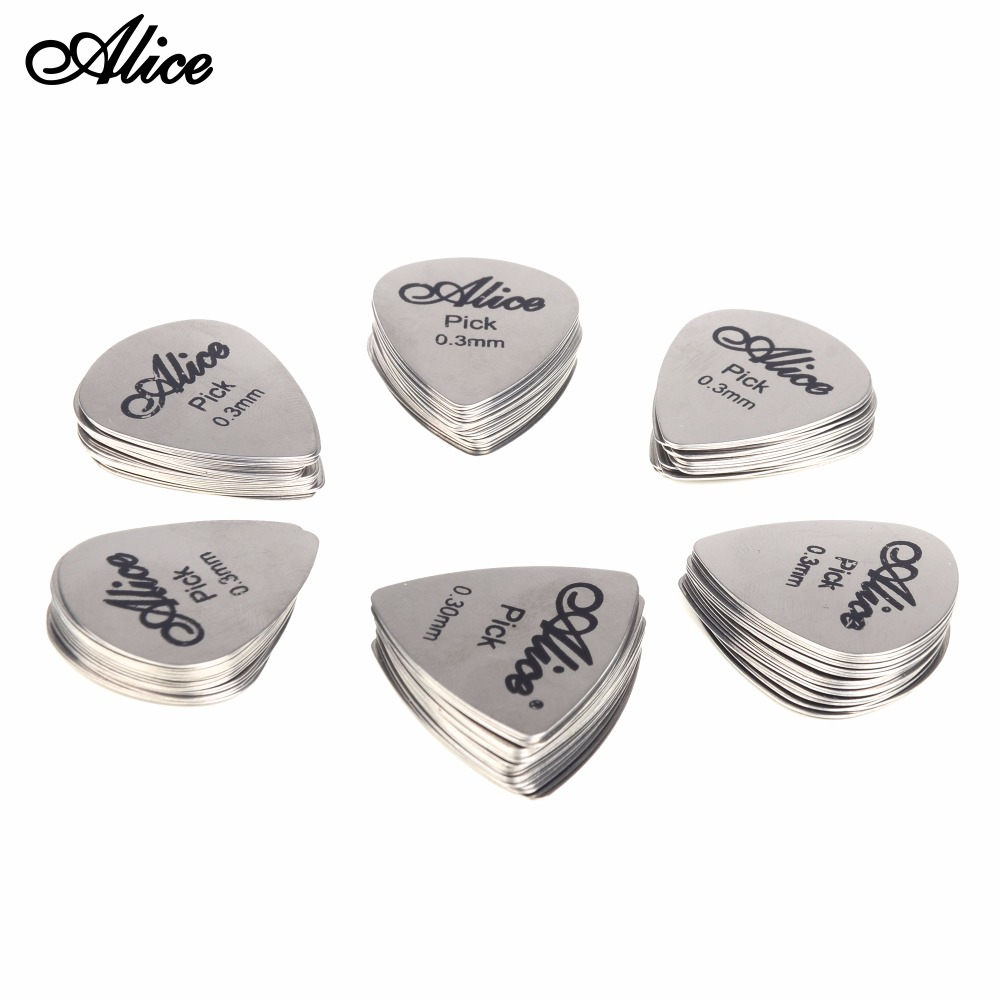 12pcs Bass Guitar Picks Stainless Steel Acoustic Electric Guitarra Plectrums 0.30mm Alice 12S