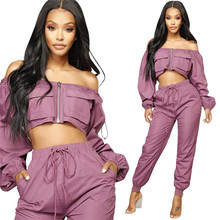 цена на Sexy 2 Piece Set Women Tracksuit Off The Shoulder Crop Top and Pant Set Jogger Sportwear Casual Two Piece Outfits Sweat Suits
