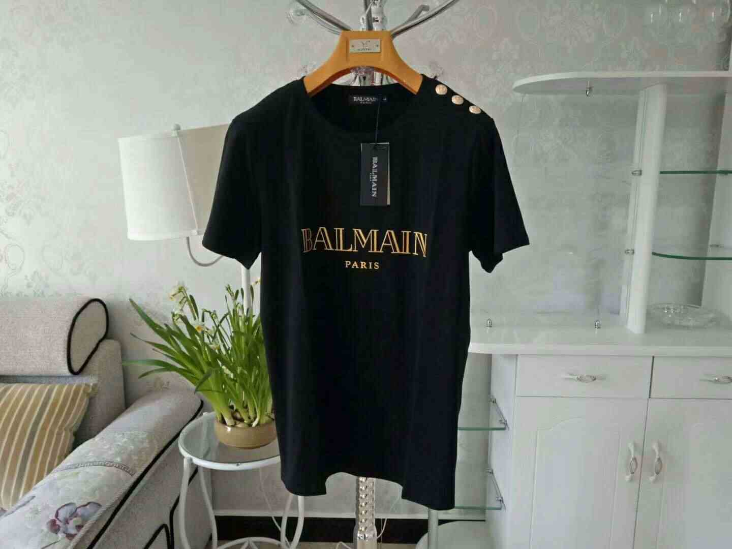 2019 Men Women New Balmain Gold buckle On Shoulder gilding alphabet cotton  t-Shirt couple