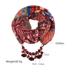 Ahmed New Geometric Beads Necklaces Printing Flowers Pattern Wrap Chiffon Statement Scarf Necklace For Women Bohemian Jewelry