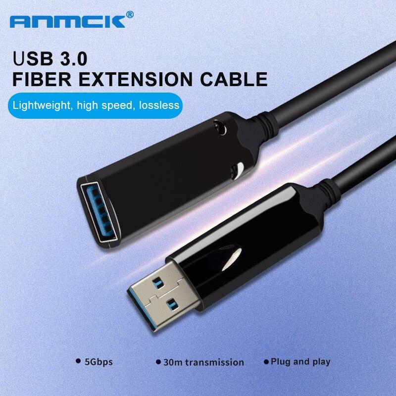 Cabo de Extensão USB 3.0 10 Anmck M 5M 20M 30M 40M 3M 1M Óptica fibra Extensor Macho Para Fêmea Mini USB Para USB Cabo Para Laptop