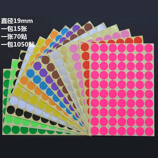 free shipping 70pcs lot 19mm colorful round dot sticker labels color