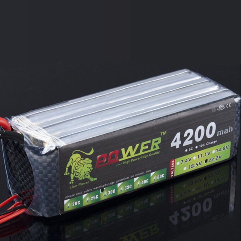Lion Power 6s 22.2V 4200MAH Lipo Battery 30C For remote control helicopter and RC Car 6S Lipo 22.2 V 4200 mah T XT60 Plug