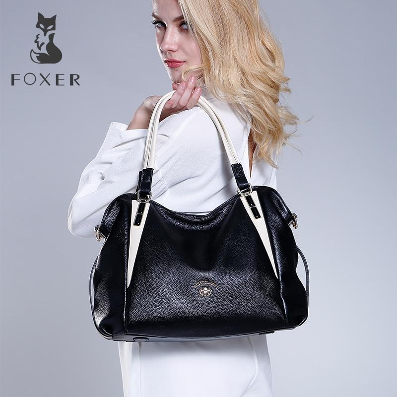 цена на FOXER Brand Women Genuine Leather Shoulder Bag Ladies Handbag Female Luxury Bags Women's Fashion Leather Bags Tote For Women