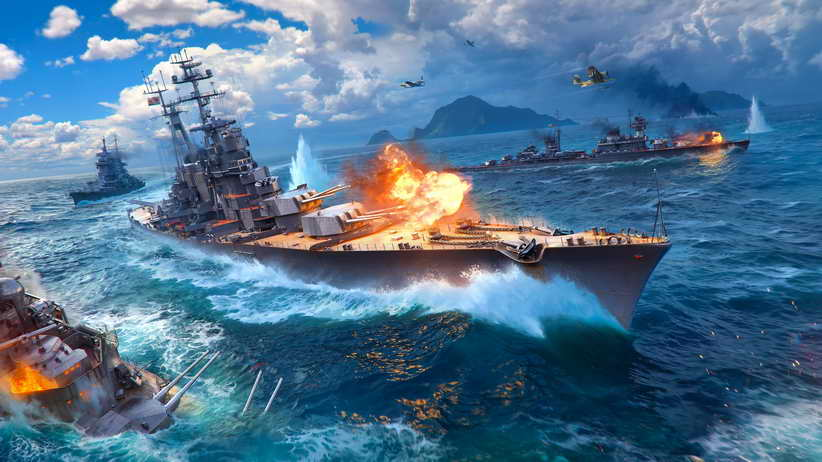 Free shipping!Home Art Wall WORLD Of WARSHIPS Game War Military Landscape Oil Painting Picture Printed On Canvas Home Decoration
