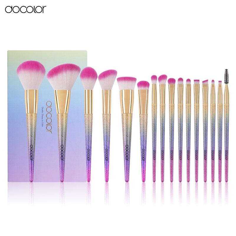 Docolor 16PCS /Set Fantasy Makeup Brushes Foundation Powder Concealer Lip Smokey Eyeshadow Angled Blush Brush Kits Makeup Brush