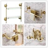 Роскошные золотые 4 частей Ванная комната Оборудование Набор аксессуаров латунь 650 мм Золотой Полотенца крючок вешалка для полотенец Ванна