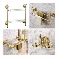 Luxury gold 4 Piece Bathroom Hardware Accessory Set brass 650mm golden Towel bar towel rack bathroom shelf Toothbrush cup Holder