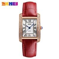 SKMEI Ladies Fashion Quartz Watch Women Rhinestone Leather Casual Dress Women S Bracelet Watch Reloje Mujer