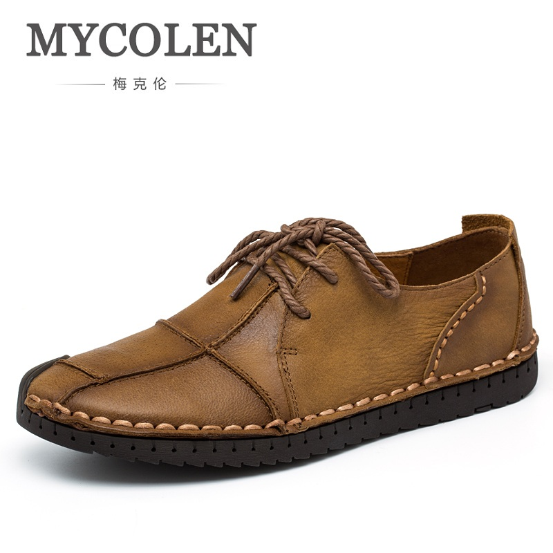 MYCOLEN Spring Fashion Genuine Leather Shoes Men Soft Comfortable Men's Casual Shoes Portable Lace-Up Driving Shoe Laces Flats klywoo new white fasion shoes men casual shoes spring men driving shoes leather breathable comfortable lace up zapatos hombre