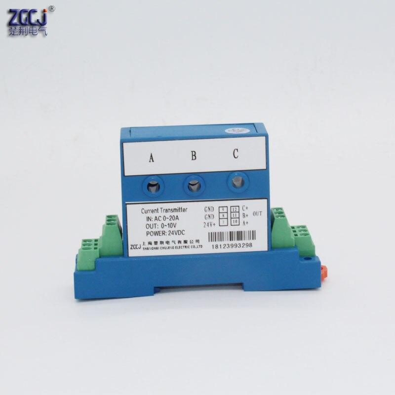 Perforation AC 0-20A transmetteur de courant à 3 phases sortie 0-10 V transducteur de signal d'ampère à 3 phases perforé