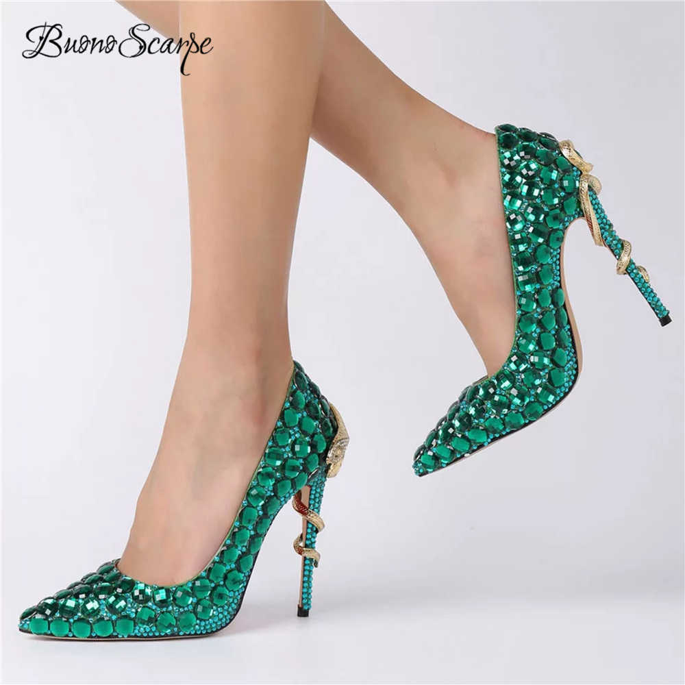 BuonoScarpe Women Wedding High Heels Bride Strass Heel Pumps Snake Heels  Crystal Bling Bling Shoes Sexy a147caf13b2e