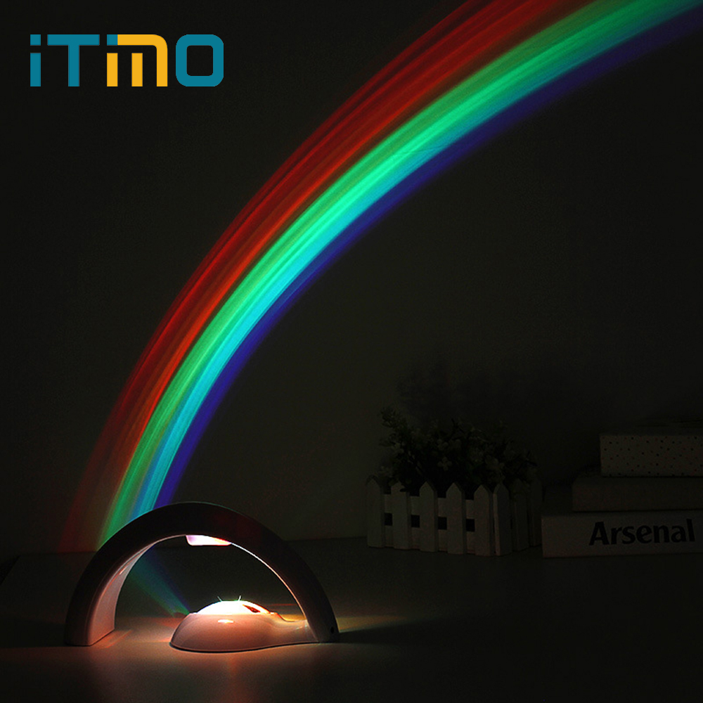 iTimo LED Rainbow Night Light Sky Rainbow Projector Lamp Baby Kids Gift 2 Modes Novelty Home Bedroom Decoration Colorful itimo led night light baby sleeping kids bedside light bedroom decoration cartoon star night lamps novelty nightlight