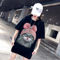 2019 Spring Loose Cartoon Cat Print T Shirts Women Half Sleeve O Neck Medium Long Tshirt Black White Tees Fashion Streetwear