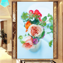 PSHINY 5D DIY Diamond embroidery sale Brilliant Flower Picture Full Square rhinestone Painting cross stich
