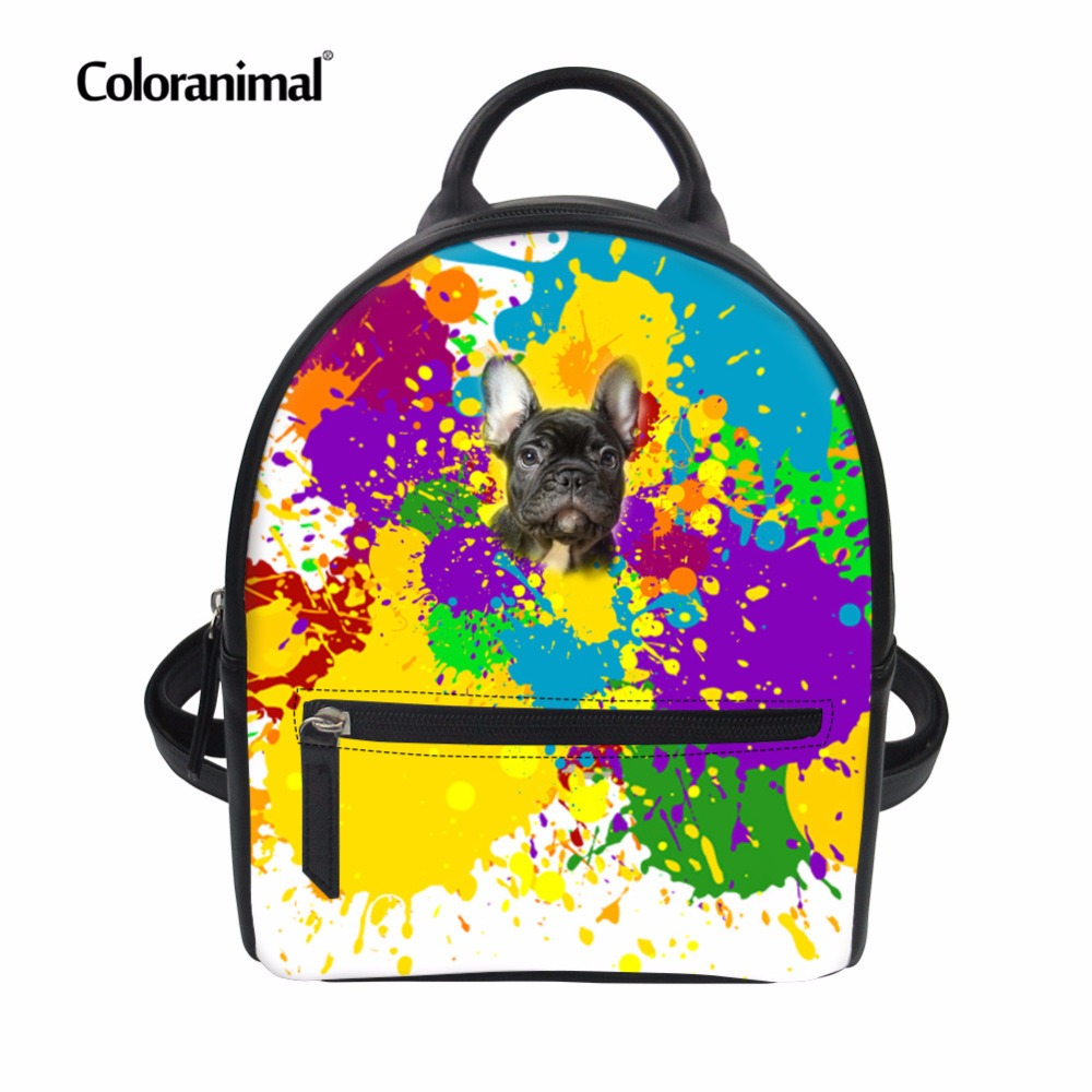 Coloranimal Preppy Style Men S Daily Mochilas Backpack Colorful BullDog Printing PU Leather School Bookbags for Teenager Girls