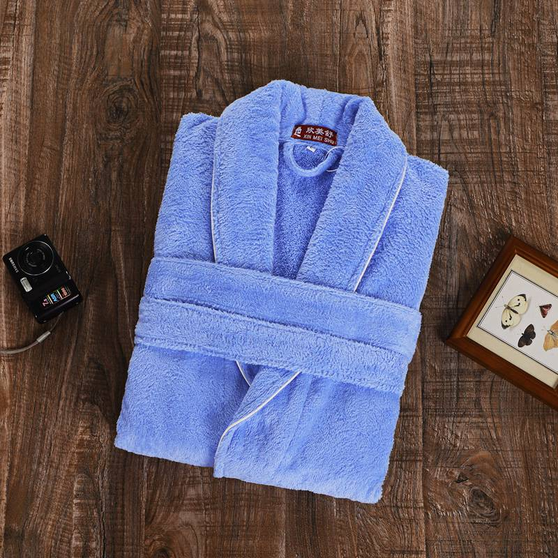 Winter Bathrobe Men Male Robe Kimono Towel Fleece Cotton Thick Long Robe Long Sleeve Soft Warm Mens Bathrobe Mens Robe Christmas