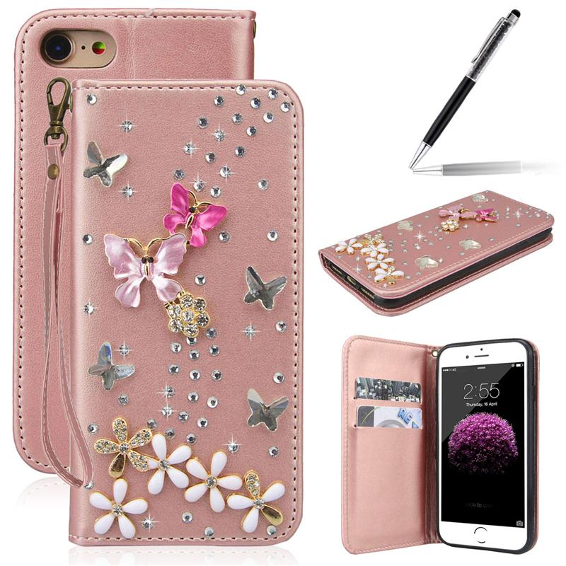 For <font><b>Samsung</b></font> Galaxy A3 A5 J3 <font><b>J5</b></font> 2017 <font><b>Cases</b></font> Luxury 3D Diamond <font><b>Leather</b></font> Flip <font><b>Case</b></font> For iPhone 7 Glitter Wallet Cover For Huawei <font><b>Case</b></font> image