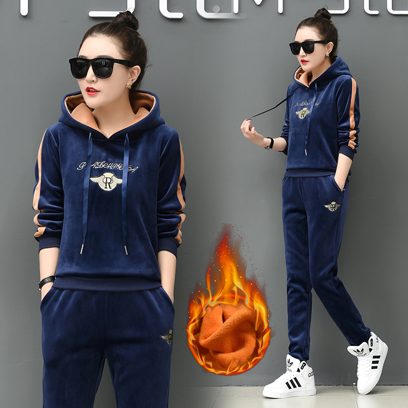 2pcs 2019 Burgundy Casual Hoodies Pants blue Velvet purple Piece Autumn Thicken black Women Fleece Sport Suits Winter dark Tops Sets Green Set Warm Tracksuit Two And FIqYO
