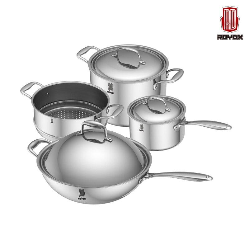 gratis pengiriman baru memasak alat 8 pc dari 18 10 stainless steel peralatan masak set