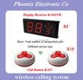 Mejor Precio, Wireless Sistema de Llamada Del Camarero de Servicio que pagina para el Club de Café (1 unid Numérico y 10 campanas de llamada) el Tiempo de Entrega