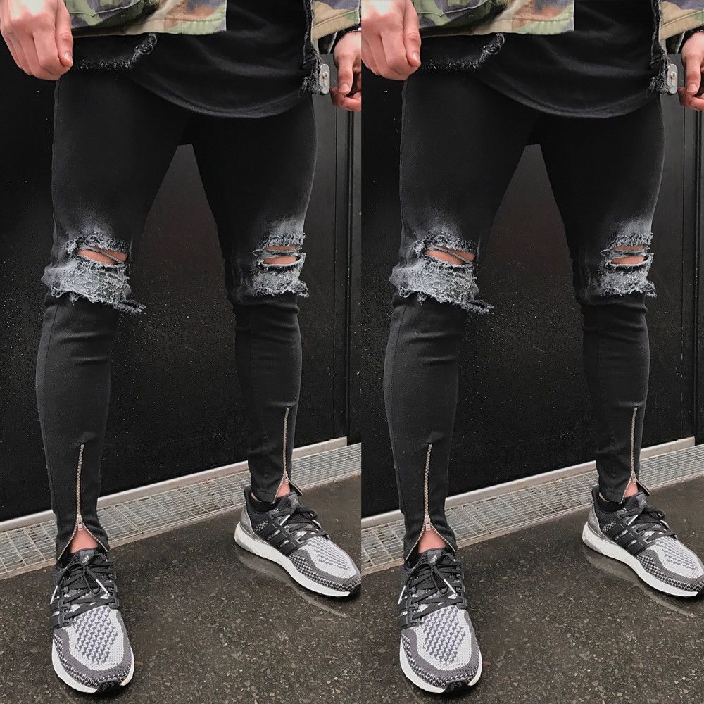 ITFABS Newest Arrivals Fashion Hot 2017 Men's Ripped Skinny Biker Jeans Destroyed Frayed Slim Fit Denim Biker Cool Pants fashion men s ripped skinny biker jeans destroyed frayed slim fit denim pants
