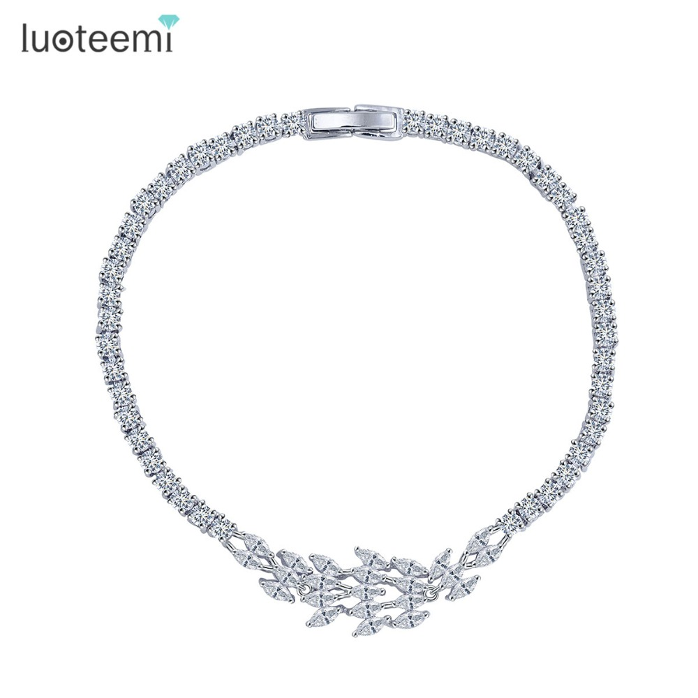 LUOTEEMI Fashion Luxury Jewelery Top Quality Sparkling Marquise CZ Zirconia font b Trendy b font font