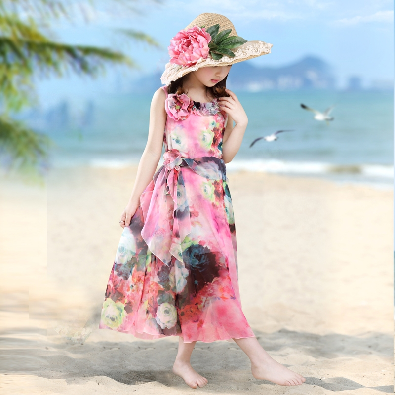 2018 Long Dress New Fashion Trend Bohemian Dress for Girls Beach Tunic Floral Summer Maxi Dresses Kids Party Princess Dresses 14 купить недорого в Москве