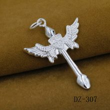 925 sterling silver pendant The new angel wings of silver cross pendant Creative personality woman cross pendant(China)