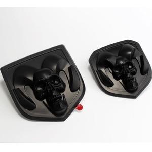 Image 3 - 3D Car Head Grill Tailgate 3D Stickers Metal Emblem Refitting Metal Chrome Badge Emblem Sticker Ram head   For Dodge Ram 1500 25