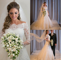 Hot Robe de mariage Mermaid Wedding Dresses 2016 White/Ivory Long Sleeve Boat Neck Appliques Lace Bridal Gown Vestido de noiva