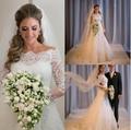 Hot Robe de mariage Vestidos de Noiva Sereia 2016 Branco/Marfim Manga Longa Pescoço Barco Apliques Lace vestido de Noiva Vestido de noiva