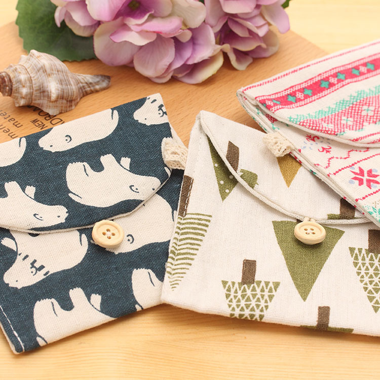 Image 4 - 1 Piece Creative Brief  Polar Bear Tree Whale Hedgehog Design Earphone Coin Data Line Sanitary Towel Home Office Storage Bag-in Home Office Storage from Home & Garden