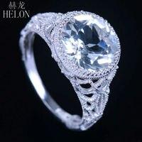 Helon 10 мм круглой формы обручальные гравировка реального 4.17ct белый топаз кольцо 10 К White Gold Pave Diamonds арт deco ювелирных изделий