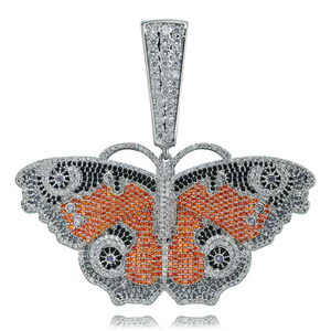 Image 3 - JINAO Hip Hop Gold Butterfly Pendant Necklace Micro Pave Zircon Iced Out Animal Jewelry Man Women Gift