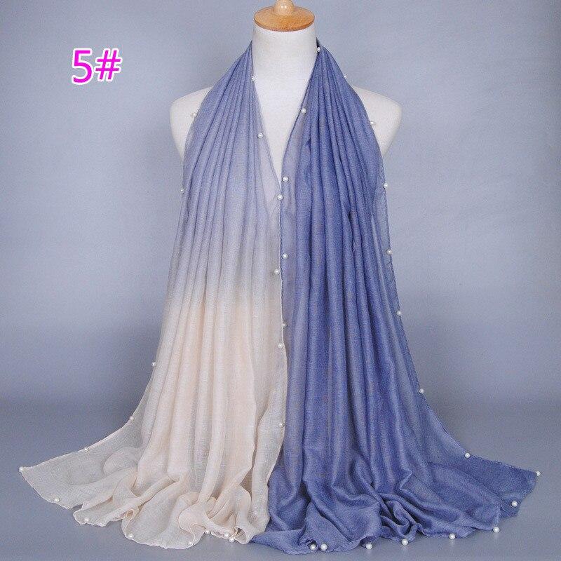 7d8921b3f366 Haute de mode perle écharpe gradient de femmes écharpe châle Musulman  180 90 cm coton matériel écharpe
