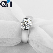 QYI 925 Sterling Silver Rings Women Men Engagement Jewelry 2 ct Round Cut Zircon  Wedding Finger Flower Gift