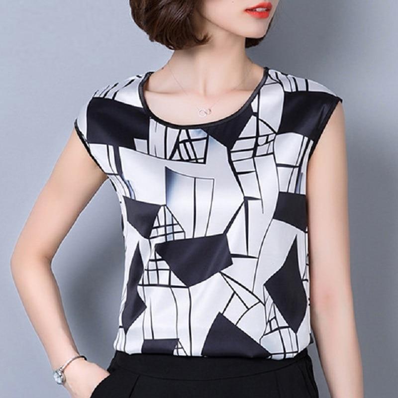 2018 summer sleeveless chiffon women blouse shirt geometric striped womens clothing plus size 5XL womens tops blusas