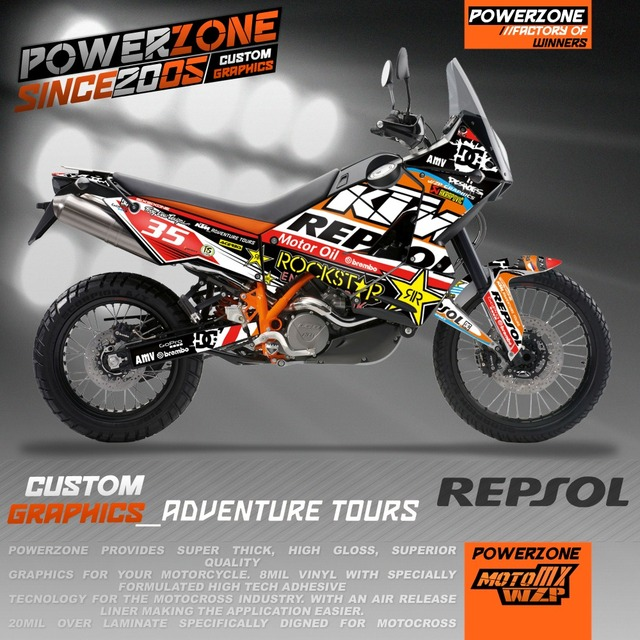 Team Custom Graphics Backgrounds Repsol Decals 3M Stickers Kits For KTM ADV 950 990 Adventure Customized Graphics Free Shipping