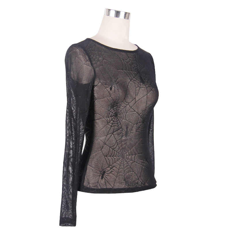 spider web Gothic silk blouse gray top tank
