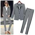 Otoño 2016 nueva moda Europea de color a rayas pequeño botón de la chaqueta + pantalones traje de dos piezas conjunto