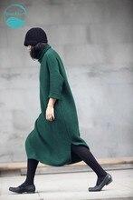 LinenAll.com women's green sweater winter/autumn wool cashmere robe pullover turtleneck long dress female YMM