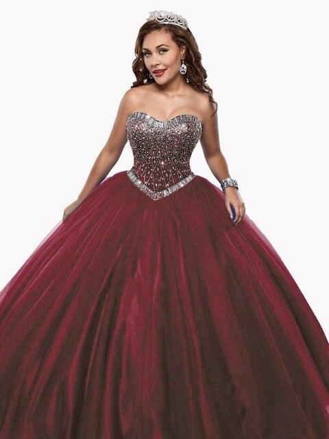 Sweetheart burgund quinceanera kleider royal blue strass plus größe ...